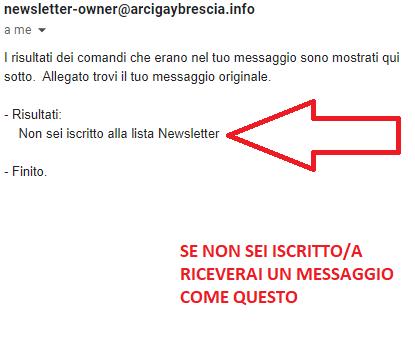 Esempio risposta email non iscritta a newsletter