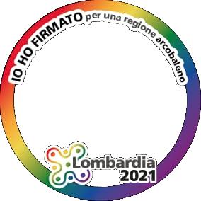Cornice per l'immagine profilo di Facebook a sostegno della campagna Lombardia 2021 - per una regione arcobaleno